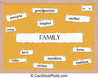 corkboard, conceito, palavra, família