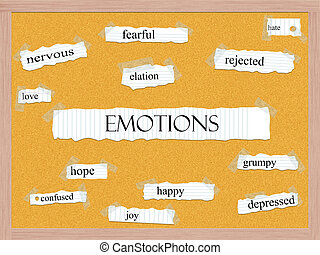 corkboard, concept, mot, émotions