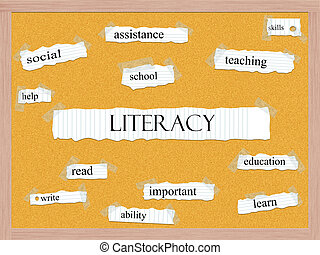 corkboard, concept, mot, alphabétisation