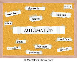 corkboard, concept, mot, automation
