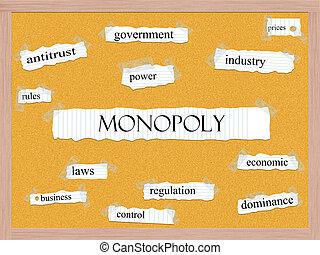 corkboard, concept, mot, monopole