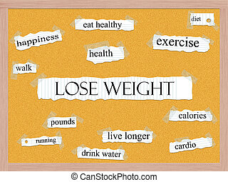 corkboard, concept, mot, poids, perdre