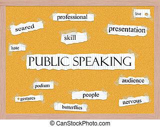 corkboard, concept, mot, prise parole public