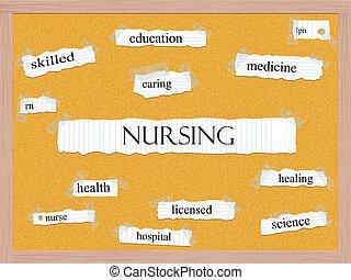 corkboard, concept, mot, soins