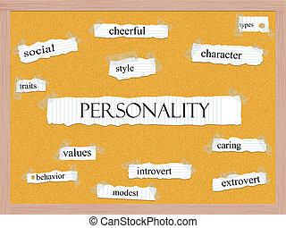 corkboard, concepto, palabra, personalidad