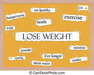 corkboard, concepto, palabra, peso, perder