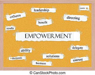corkboard, empowerment, conceito, palavra