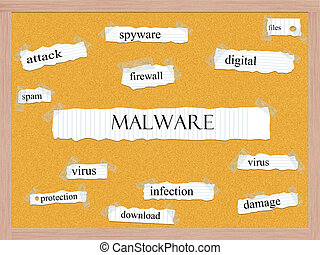 corkboard, malware, conceito, palavra