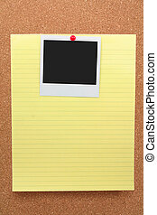 corkboard, notepaper and blank photo