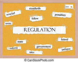 corkboard, regulamento, conceito, palavra