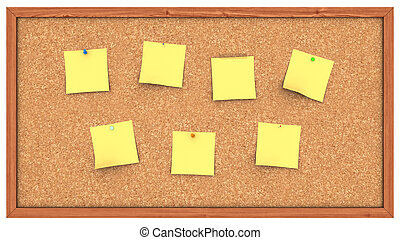 A Corckboard with several Post It's