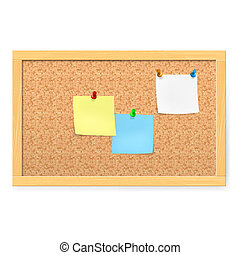 Realistic corkboard with pushpins and blank paper on white.