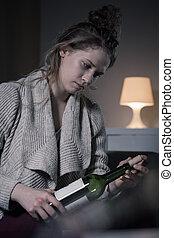corking, een, fles van wijn