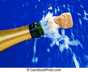 corks and champagne bottle - champagne bottle is opened....