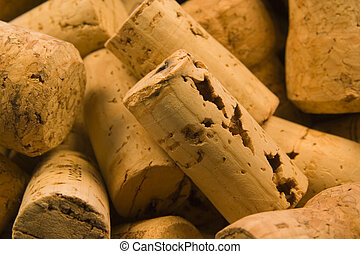 Corks Close Up 2 - Random pile of traditional natural wine...