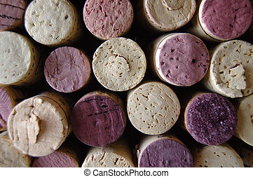 Corks Close-up - Intermittently spaced red and white corks