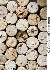 Corks vertical - Stacked pile of old wine corks viewed end...