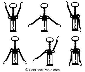 Black silhouettes of corkscrew, vector