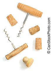 corkscrew and wine cork on white