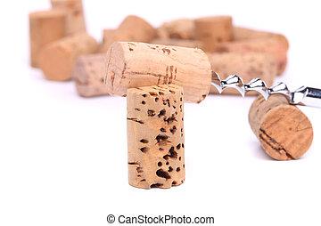 Corkscrew and wine corks