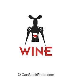 corkscrew and wineglass vector design template