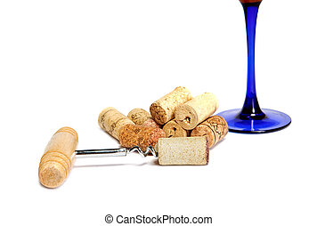 corkscrew cork and glass of wine