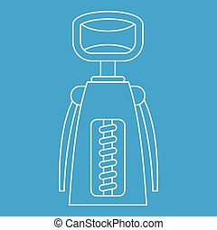 Corkscrew icon, outline style - Corkscrew icon blue outline...