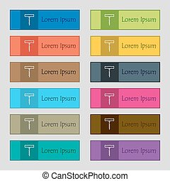 corkscrew icon sign. Set of twelve rectangular, colorful, beautiful, high-quality buttons for the site. Vector