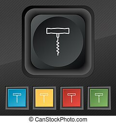 corkscrew icon symbol. Set of five colorful, stylish buttons on black texture for your design. Vector