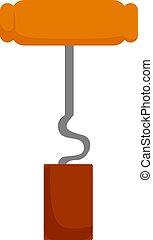Corkscrew, illustration, vector on white background.