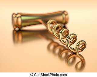 Corkscrew isolated on gold background. 3D