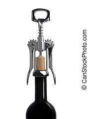 Corkscrew on a bottle of wine
