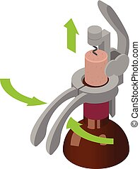 Corkscrew remove cork icon, isometric style - Corkscrew...