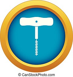 Corkscrew with a metal spiral icon blue vector isolated