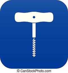 Corkscrew with a metal spiral icon digital blue