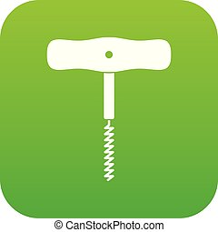 Corkscrew with a metal spiral icon digital green