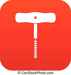 Corkscrew with a metal spiral icon digital red