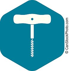 Corkscrew with a metal spiral icon, simple style