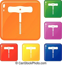 Corkscrew with a metal spiral icons set vector color