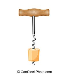 Corkscrew with wood cork vector illustration isolated on white