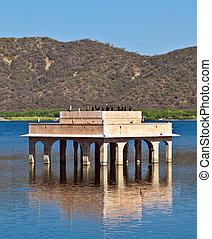 Cormorans at Water Palace (Jal Mahal) in Man Sagar Lake. Jaipur, Rajasthan, India. 18th Century