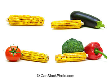 Corn and other vegetables on a white background.