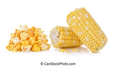 corn and Pop Corn on white background