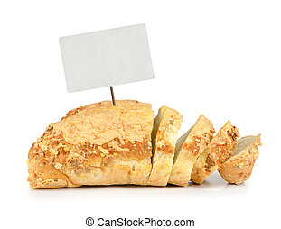 Corn bread with cheese and blank tag