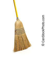Corn broom on white background