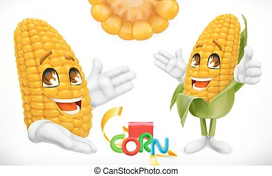 Corn, cartoon character. Food for kids. 3d vector icon