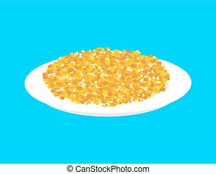 Corn cereal in plate isolated. Healthy food for breakfast. Vector illustration