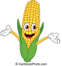 Cheerful cartoon corn raising his hands