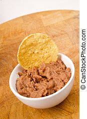 Corn Chip Buried in Refried Beans Dish Snack Appetizer - A...