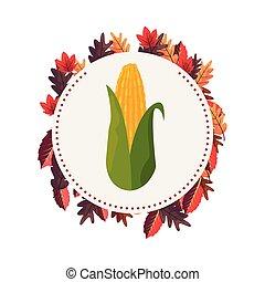 corn cob leaves label sticker
